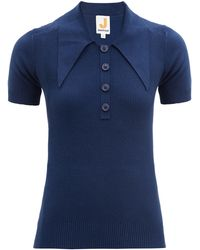 JoosTricot Oversized Point-collar Cotton-blend Polo Shirt - Blue