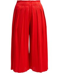 Pleats Please Issey Miyake - High Rise Pleated Cropped Culottes - Lyst