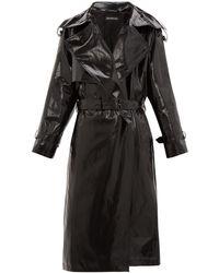 Balenciaga Exaggerated-lapel Coated-cotton Trench Coat - Black