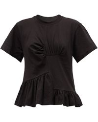 Marques'Almeida ペプラム オーガニック&リサイクルコットンtシャツ - ブラック