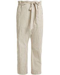 MASSCOB Paper Bag Waist Striped Pants - Multicolour