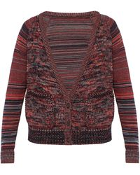 Bless Striped Sleeve Wool Cardigan - Red