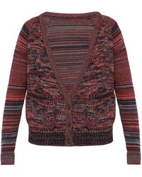 Bless Striped-sleeve Wool Cardigan - Red