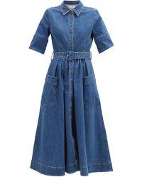 Co. ベルテッド コットンデニムドレス - ブルー