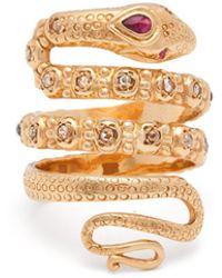 Jade Jagger - 18kt Gold, Ruby & Diamond Snake Ring - Lyst