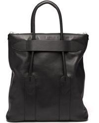 Maison Margiela Logo-embroidered Leather Tote Bag - Black