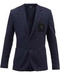 Dolce & Gabbana チェック ウールブレンドツイード シングルジャケット - ブルー