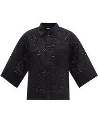 Three Graces London Nico Broderie-anglaise Shirt - Black