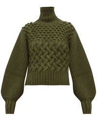 Apiece Apart Quercia Cable Knit Alpaca Blend Sweater - Green