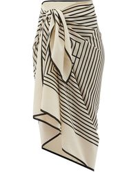 Totême Monogram-print Silk-crepe Sarong - White