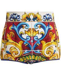 Dolce & Gabbana - Majolica-print High-waist Shorts - Lyst