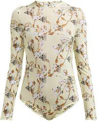 Off-White c o Virgil Abloh - Cotton Print Mesh Jersey Bodysuit - Lyst bd866e526