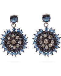 Oscar de la Renta Crystal And Bead Embellished Floral Drop Earrings - Blue