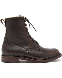 Cheaney Shearling Lined Grained Leather Boots - Brown