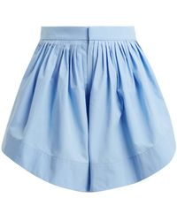 Chloé - Pleated Cotton Shorts - Lyst