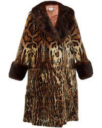 Gucci Leopard-print Faux-fur Coat - Brown