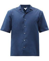 Sunspel キューバンカラー コットンシャツ - ブルー