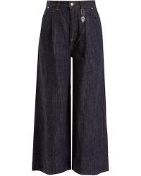 MUVEIL - Frayed-hem High-rise Wide-leg Jeans - Lyst