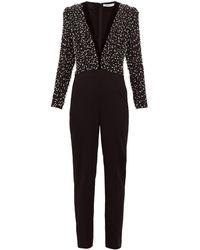 Givenchy ビーズボディス ウール&シルクジャンプスーツ - ブラック