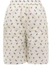 Cecile Bahnsen Simone Floral Jacquard Cotton Boyfriend Shorts - White