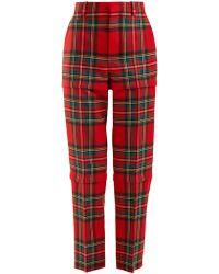 Balenciaga - Tartan High-rise Tapered-leg Wool Trousers - Lyst