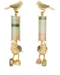 Daniela Villegas Do Re Mi Tourmaline, Sapphire & 18kt Gold Earrings - Green