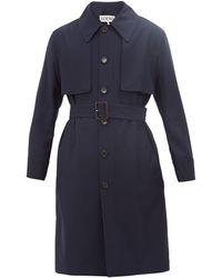 Loewe Wool Belted Trenchcoat Herren Navy - Blau