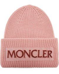 Moncler Velvet-logo Wool Beanie Hat - Pink