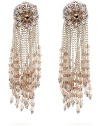 Oscar de la Renta Fringed Beaded Clip Earrings - Metallic