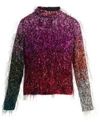 Ashish - Tinsel Sequin Embellished Silk Top - Lyst
