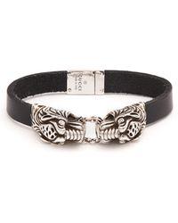 Gucci Bracelet en cuir à têtes de tigre - Noir