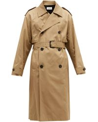 Saint Laurent Double-breasted Cotton Trench Coat - Natural