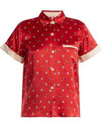 Morgan Lane Staci Daisy-print Silk Pyjama Top - Red