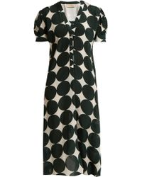 Adriana Degreas - Cacao Polka-dot Print Silk Dress - Lyst
