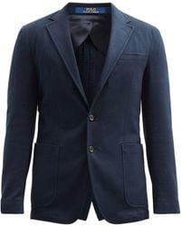 Polo Ralph Lauren Single-breasted Cotton-blend Piqué Blazer - Blue