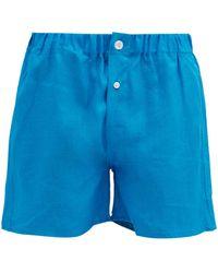 Emma Willis Slim-fit Linen Boxer Shorts - Blue