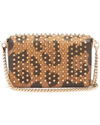 Christian Louboutin Zoomi Leopard-print Leather And Spike Clutch - Multicolor