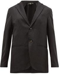 Edward Crutchley チョークストライプ ウールツイル シングルジャケット - ブラック