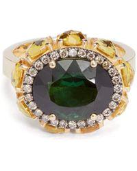 Ileana Makri Eternity Flower Diamond, Sapphire & 18kt Gold Ring - Metallic