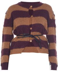 Marni - Belted Striped Mohair-blend Cardigan - Lyst