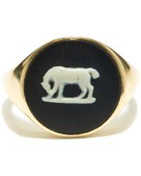 Ferian Chevalière en or 9 carats à camée Wedgwood - Multicolore