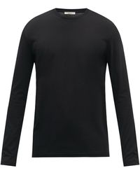 The Row Leon Cotton-jersey Long-sleeved T-shirt - Black