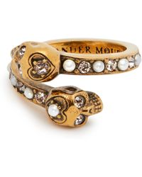 Alexander McQueen - Skull Faux Pearl And Crystal-embellished Ring - Lyst