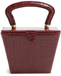 STAUD - Sadie Mini Crocodile Effect Leather Box Bag - Lyst