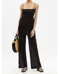 Three Graces London Tallie Shirred Cotton-blend Cloqué Jumpsuit - Black