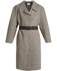 Prada Houndstooth Checked Wool Blend Coat