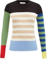 1 MONCLER JW ANDERSON Colour-block Striped Cotton-blend Sweater - Blue