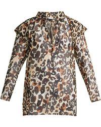 Sonia Rykiel - Leopard Silk Blouse - Lyst