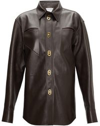 Bottega Veneta カットアウト レザーシャツ - ブラウン