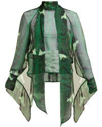 Petar Petrov Barry Snake Print Silk Blouse - Green